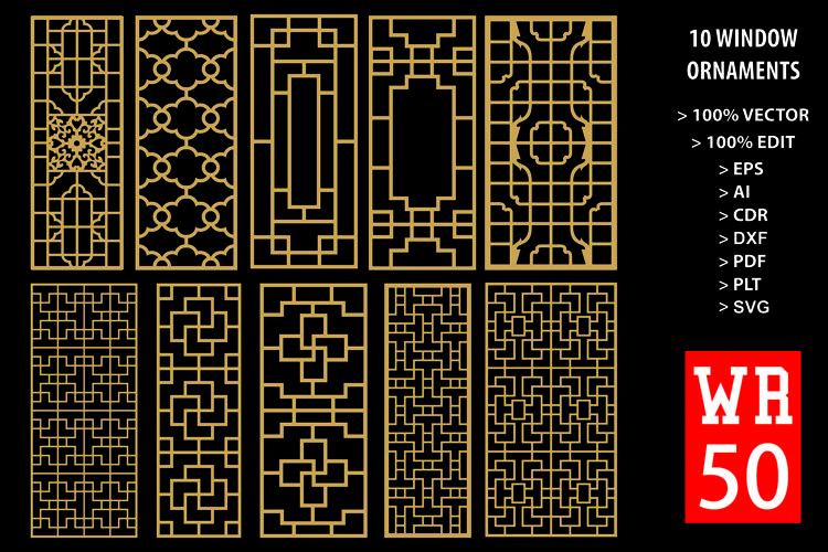 WR 50, Carved Window Ornaments Laser Cutting example image 1