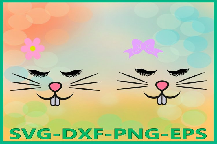 Bunny Girl Face Svg, Easter Bunny svg, Bunny eyelashes Svg