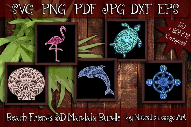 3D Mandalas Beach Friends Bundle SVG and Sublimation Files example image 1