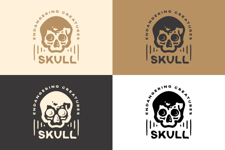 Vintage Logo for Abstract Dangerous Skull example 2