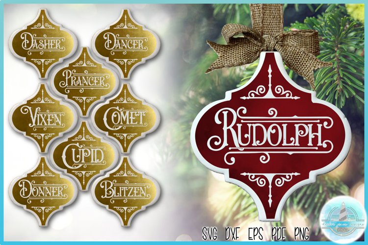 "3""H x 2.9""W Arabesque Tile Ornament Reindeer Names SVG example image 1"