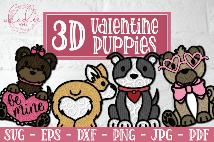 3D Valentine Puppies, Papercut Valentines, 3D Dog SVG Bundle example image 1