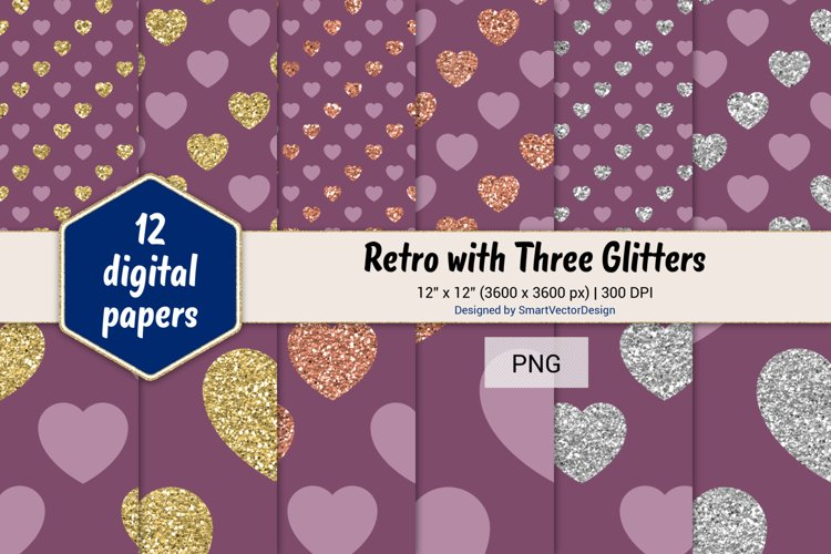 Hearts Retro with Three Glitters Color Combo #7 example image 1