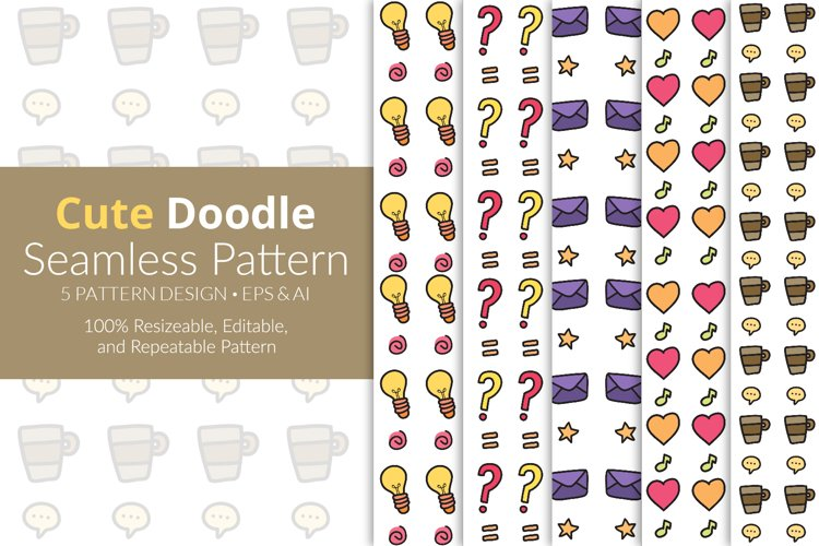 Cute Doodle Seamless Pattern Pack