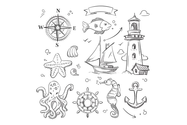 Hand drawn sea, marine objects and ocean animals vector set example image 1