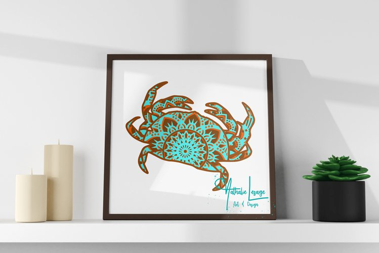 Layered Mandala Crab 3D SVG Beach Design And Sublimation example 2