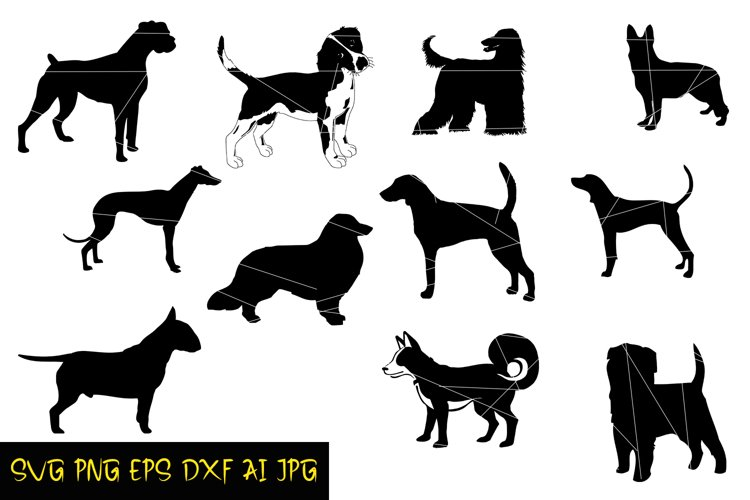 Dog Silhouette,Digital Silhouette,EPS,SVG,PNG,JPG,AI,DFX example image 1