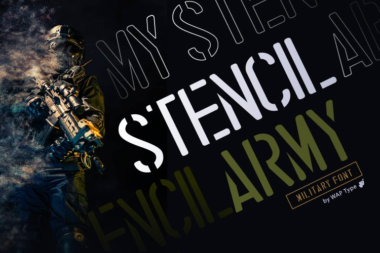Stencil Army | Display font military full version example image 1