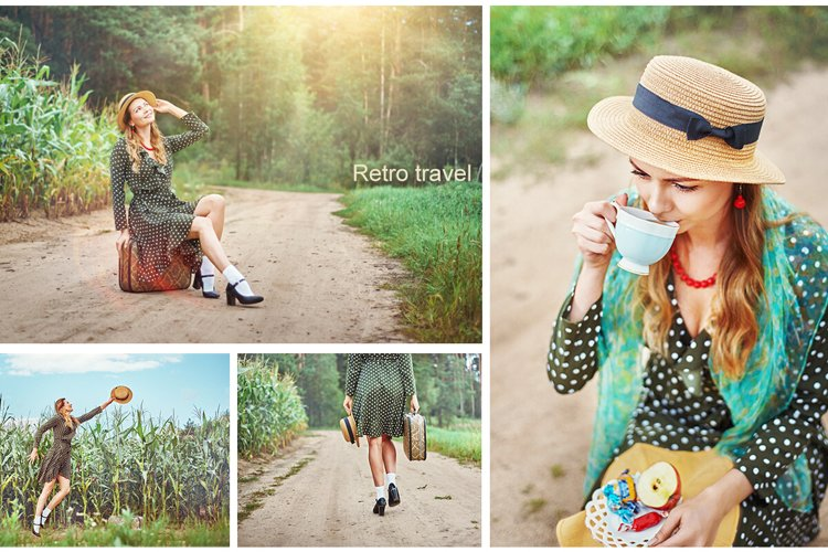 Young girl is traveling. Retro style example image 1
