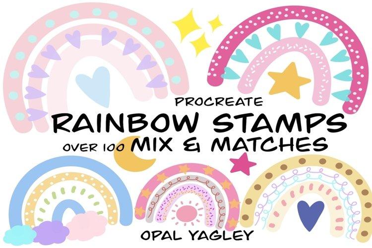 Rainbow Procreate Stamps / Doodle Procreate Brushes example image 1