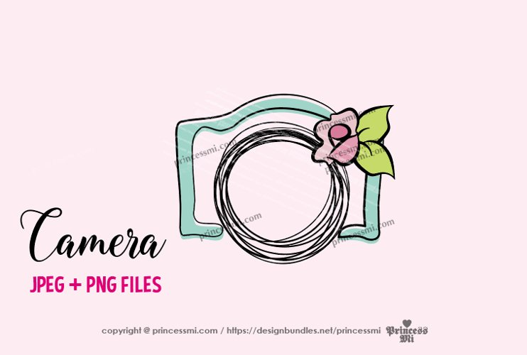 camera clipart - rose flower example image 1