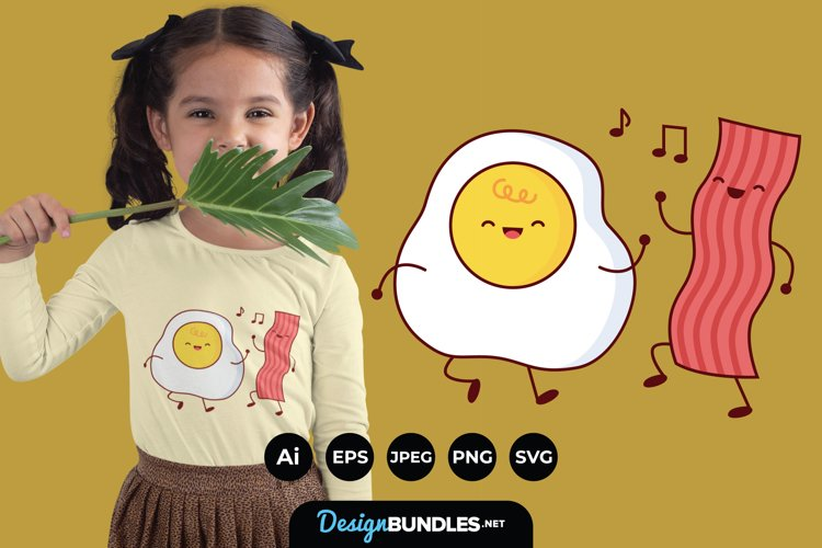 Cute Happy Fried Egg and Bacon Clipart for T-Shirt Design example image 1