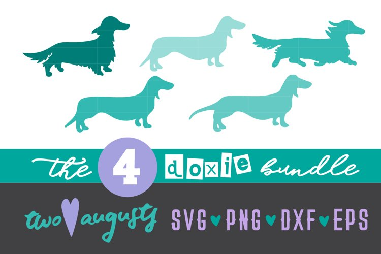 Doxie 4 pack, Dachshund, SVG, DXF, PNG, EPS, Dog, weenie