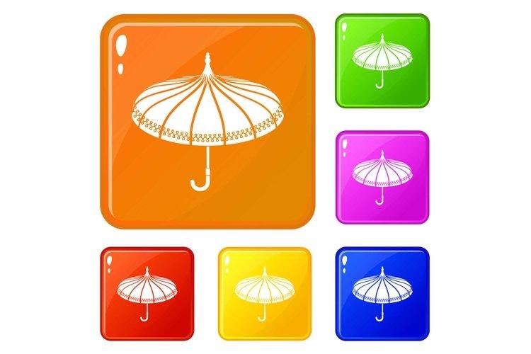 Umbrella icons set vector color example image 1