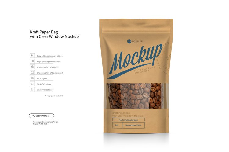 Kraft Paper Bag Stand up Pouch Doypack with Clear Window Mockup example image 1