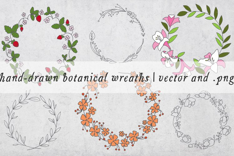 Hand Drawn Botanical Wreaths - Vector example image 1