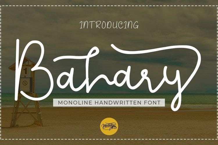 Bahary | Handwritten Monoline Script Font