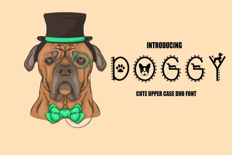 Doggy Font - A Cute upper case duo font
