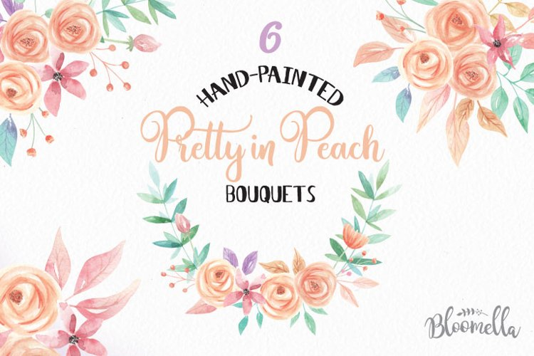 Watercolor Pretty in Peach Clipart Bouquets Flowers Flowers Summer Florals