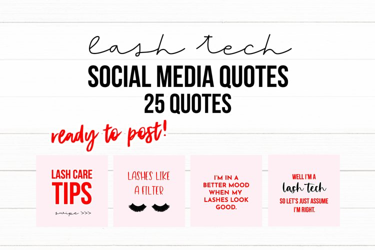 25 x Light Pink & Red Lash Tech Social Media Quotes example image 1