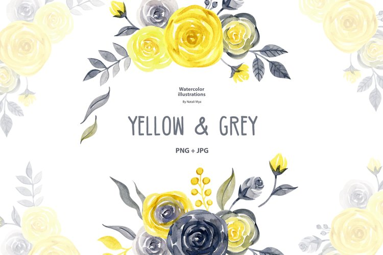 Watercolor yellow & gray roses example image 1