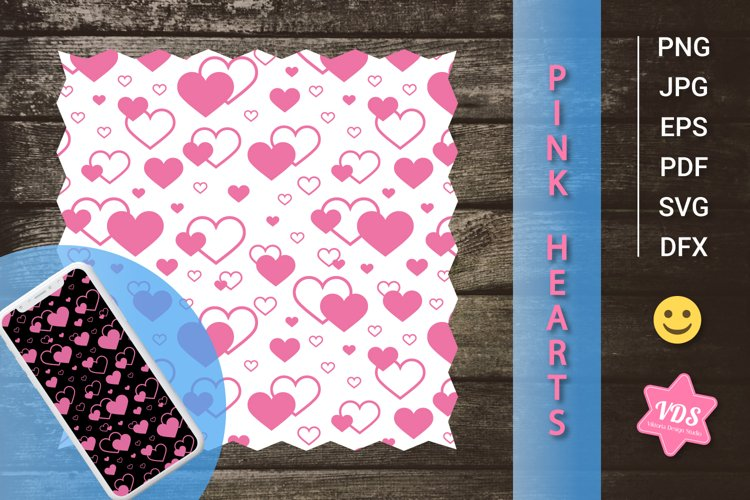 Patterns with Pink Hearts. Valentines Day. With Love.