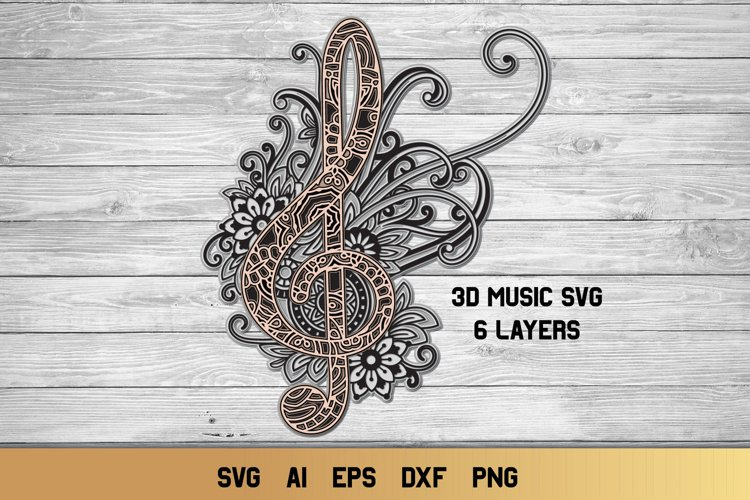 3d Layered Treble Clef SVG | Music Notes SVG | Cut File