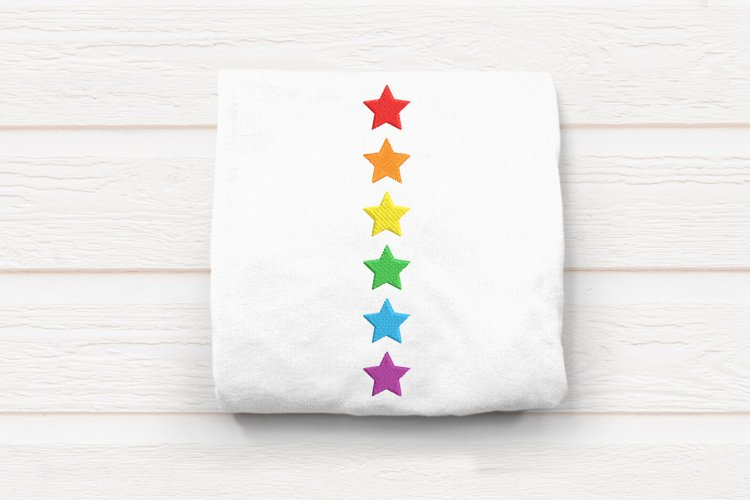 Vertical Row of Stars Embroidery Design
