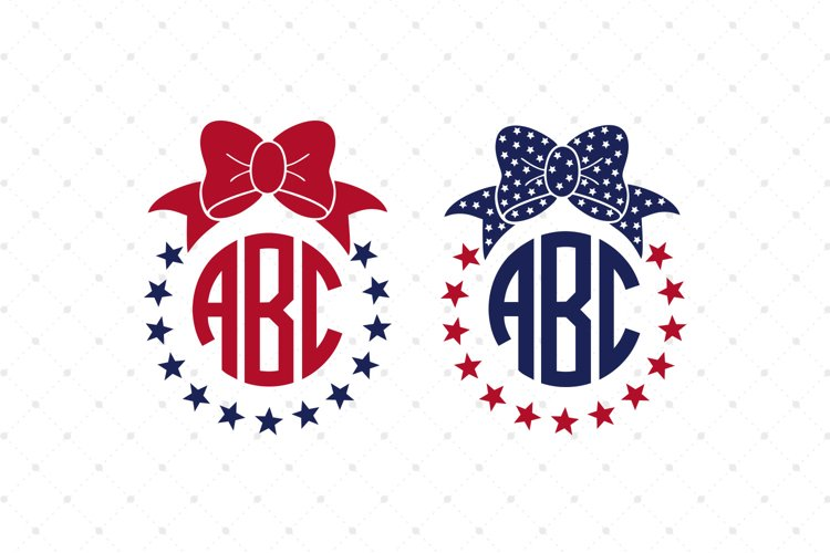 4th of July Bow Monogram Frames SVG Cut Files example image 1