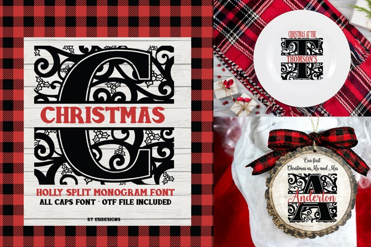 Christmas Holly Split Monogram Font | Serif Font example image 1