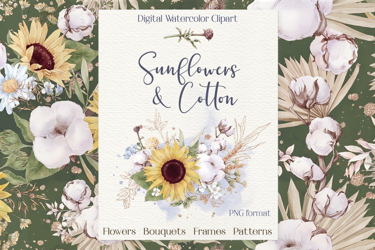 Watercolor Flowers Sunflowers and Cotton