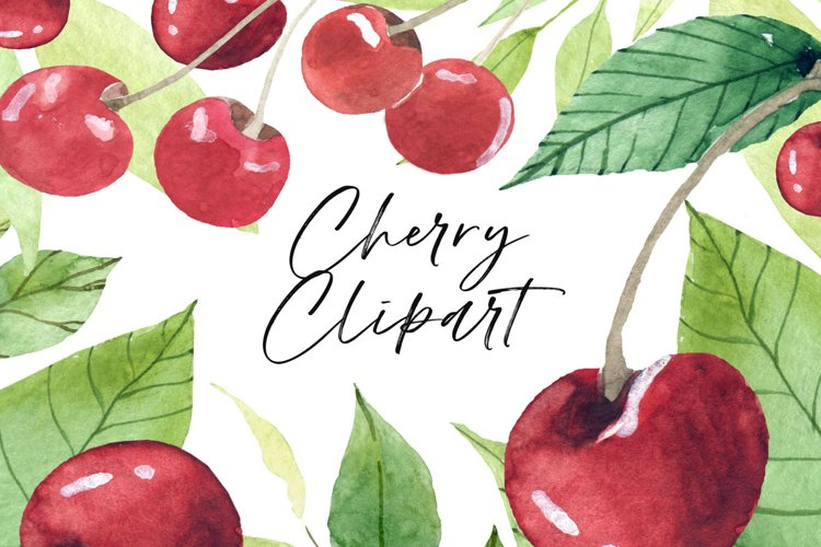 Food clipart Fruit clipart Watercolor fruits Cherry clipart