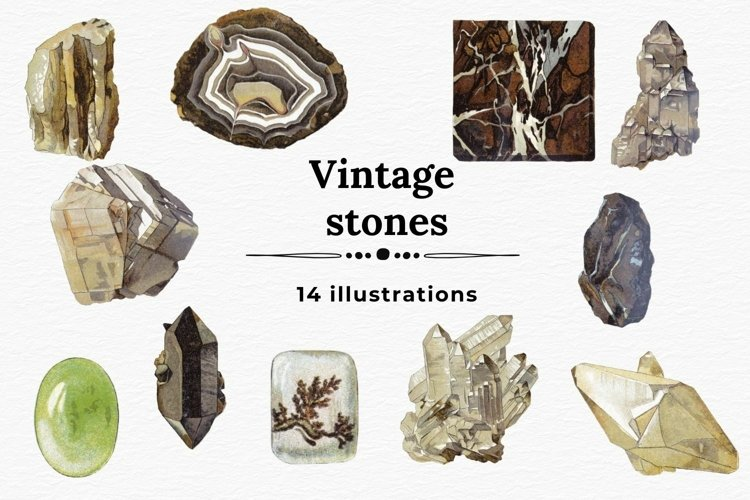 Vintage Stones Illustrations, Minerals And Crystals