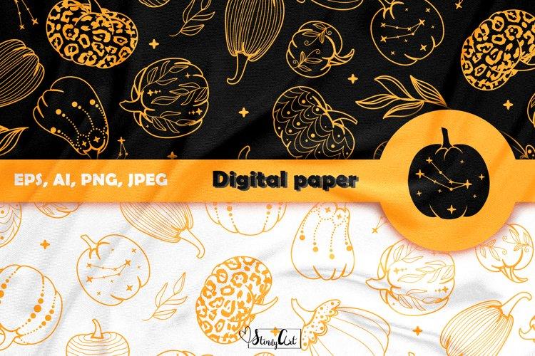 Halloween Pumpkin Digital Paper - 2 printable seamless files