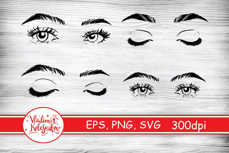 4 Eyes silhouette set. Female woman eyes and brows vector