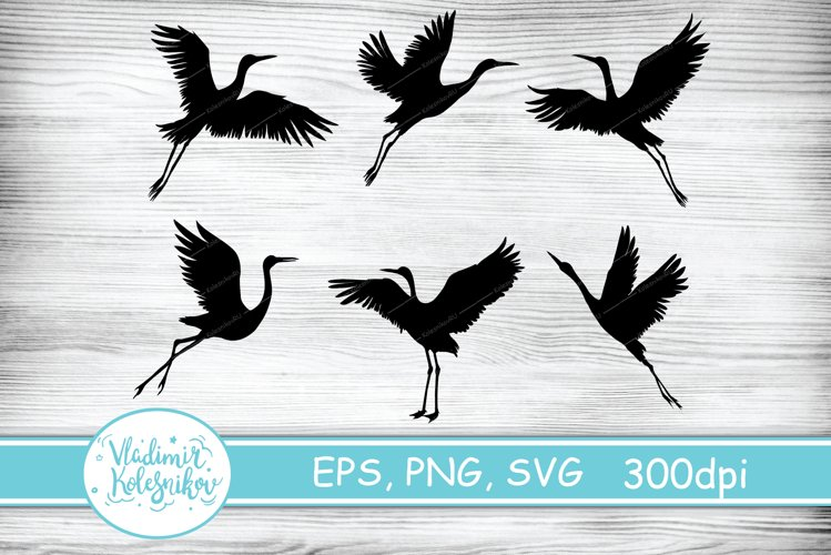 Silhouette of a crane bird. 6 vector objects.
