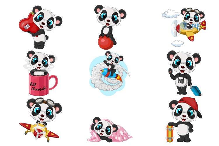 Set of Cartoon Nine Baby Panda in different Activities