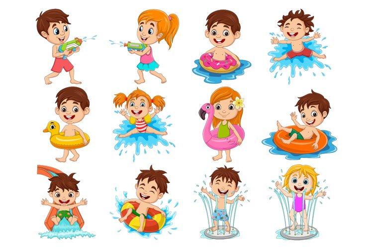 Set of Twelve Kids Activities In Water Pool