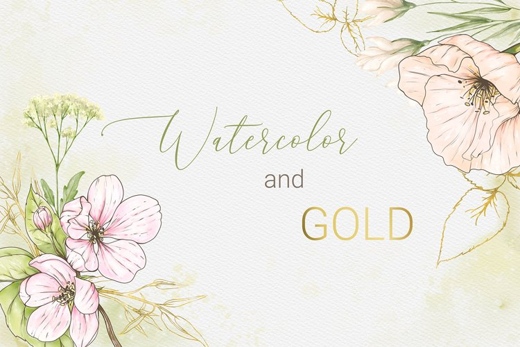 Watercolor and GOLD nature example image 1