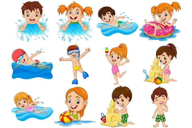 Set of Twelve Children Activities on Summer Holidays