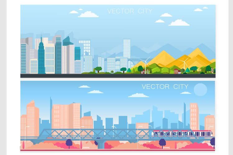 Set of vector poster with modern city