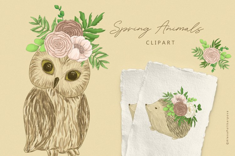 Spring Woodland animals clipart. Baby shower clipart.