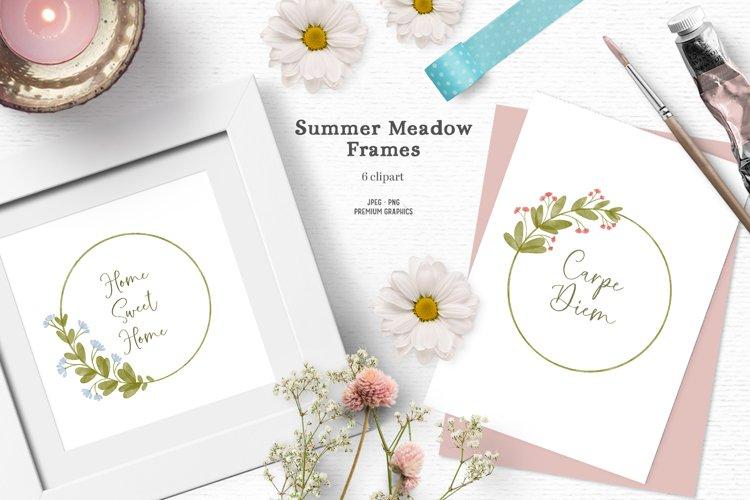 Summer flower frame | Watercolor wildflower clipart