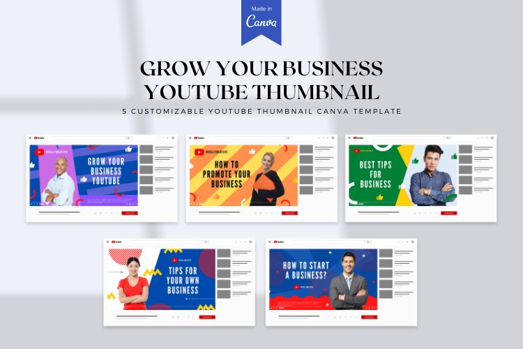 5 Grow Your Business YouTube Thumbnail Canva Templates example