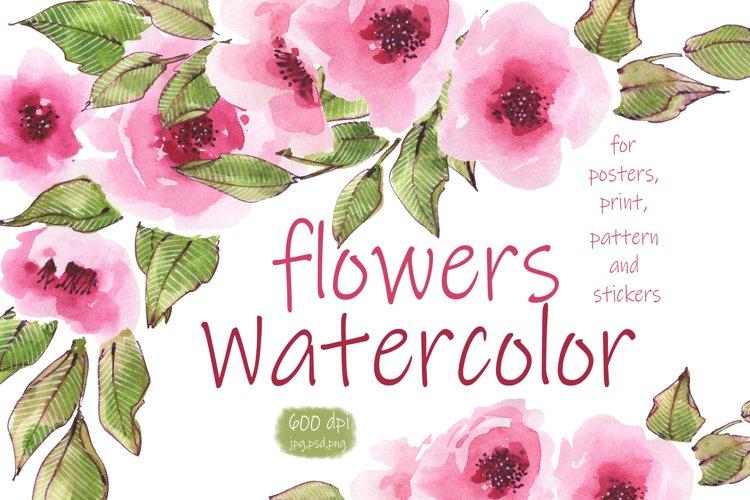 Flowers. Watercolor illustration.