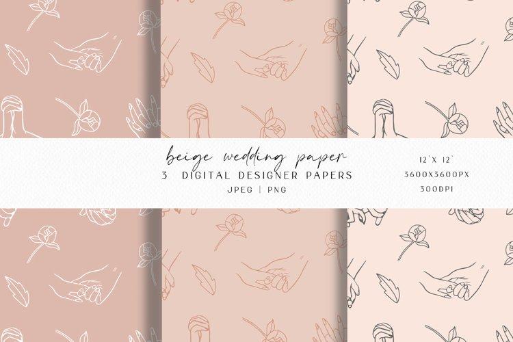 Beige Wedding Digital Paper