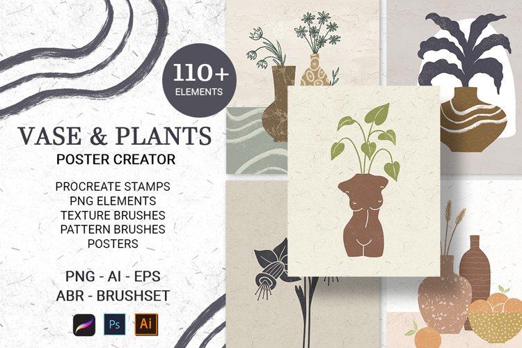Vase & Plants. Art Print Creator
