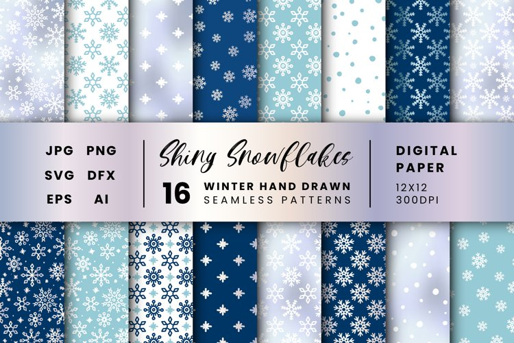 16 Snowflakes patterns, Winter Textures Snow Digital Papers
