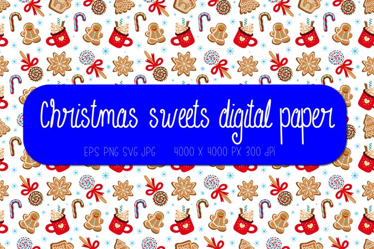 Christmas digital paper | Christmas sweets seamless pattern example image 1