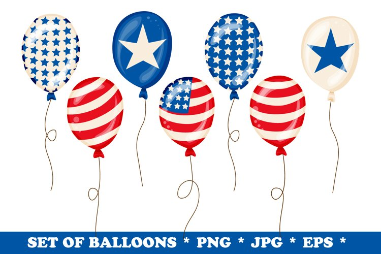4th of July Balloons Clipart Set PNG, EPS, JPG